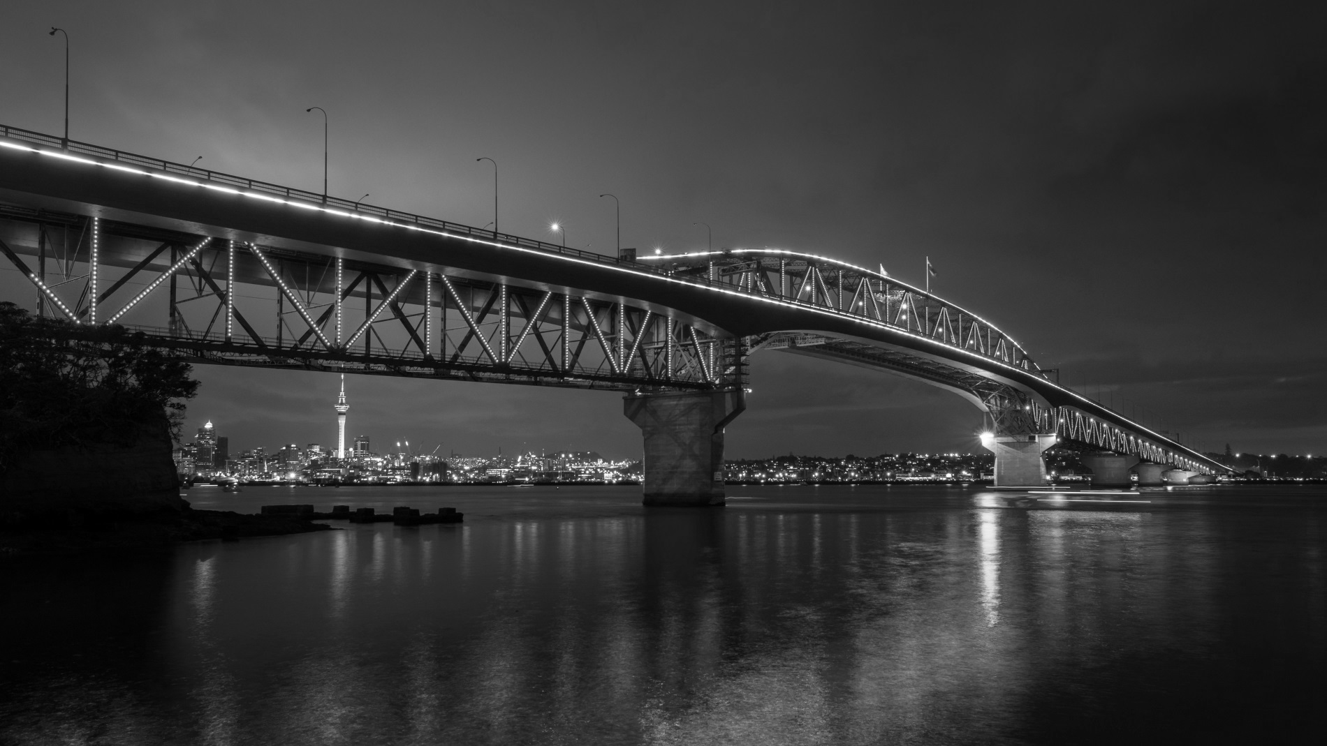 National Advisors Conference Held in Auckland - Shows the Auckland Harbour Bridge- Black And White